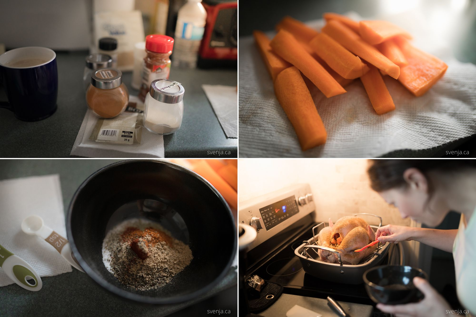 collage of four images showing spices, carrots, a bowl with mixed spices and a woman seasoning a turkey