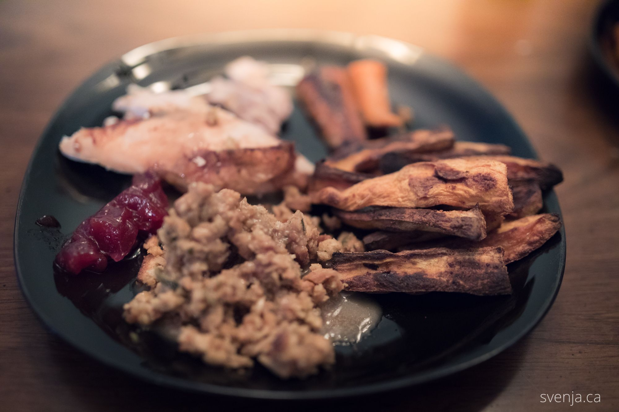 thanksgiving plate filled with turkey, carrots, sweet potatoes, stuffing, and cranberry sauce