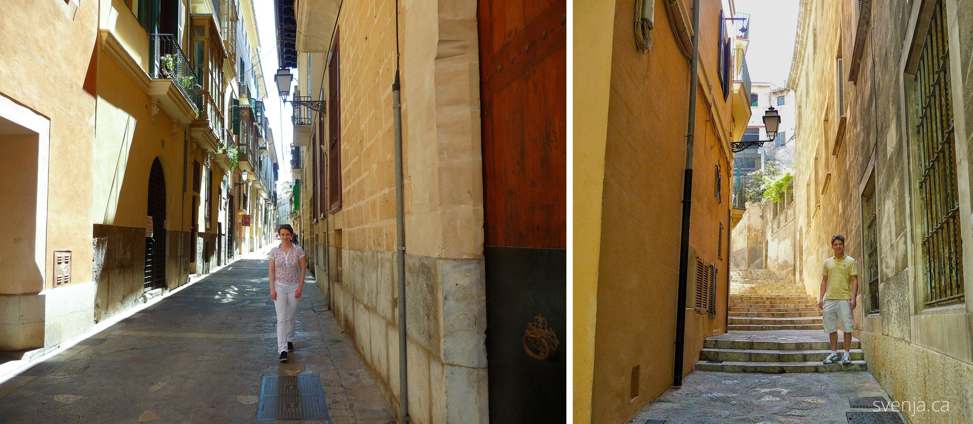 Two pictures, one with Svenja, one with Aaron, but both in Mallorca, Spain